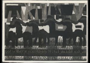 Zinkstukwerkers [te Hellevoetsluis], 1960 Ets op papier 58,5 x 82 cm (Deltawerken) © foto MicroFormat